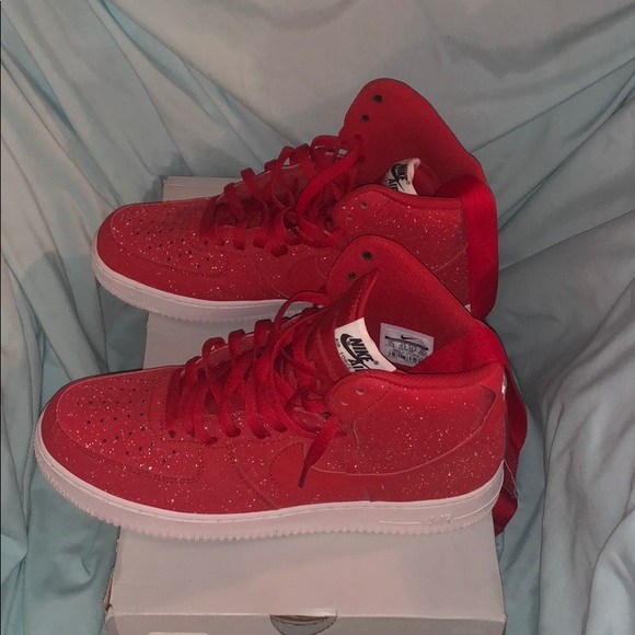 red and black high top air force ones